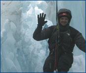 Dr. Paul Morton ice climbing